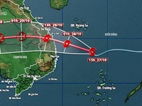 Bão số 9 rất mạnh, đang hướng thẳng vào đất liền từ Đà Nẵng đến Phú Yên