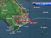Bão số 12 vẫn mạnh cấp 9, tâm bão nằm ngay trên vùng biển Bình Định tới Ninh Thuận
