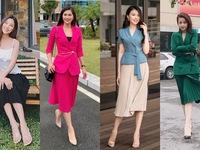 Ngắm các nữ BTV, MC diện váy dài xếp ly 'bất chấp' mọi thời tiết