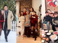 Lã Thanh Huyền mời bạn đến biệt thự, gia đình Hồng Đăng chụp với cây thông khổng lồ dịp Giáng sinh