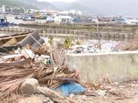 Tàu cháy, nhà bỏ hoang gây ô nhiễm khu dân cư ven biển