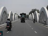 Tượng voi khổng lồ đeo khẩu trang tuyên truyền về phòng chống dịch COVID-19