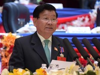 Top leader extends congratulations to newly-elected general secretary of Lao Party