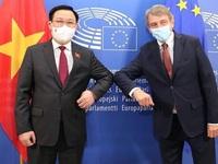Top leaders of Vietnamese N.A., European Parliament hold talks