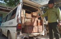 Xe biển xanh chở gỗ lậu bị bắt, tài xế bỏ trốn