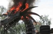 Mô hình rồng lửa bỗng bốc cháy dữ dội nhưng du khách vẫn đứng xem thích thú