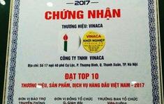 Mập mờ việc cấp giấy chứng nhận top 10 thương hiệu cho Vinaca
