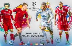 Lịch thi đấu bán kết lượt đi Champions League: Liverpool – Roma, Bayern – Real