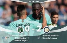 Sassuolo 3 - 4 Inter: Lukaku lập cú đúp, Inter thắng kịch tính (Vòng 8 Serie A 2019-2020)