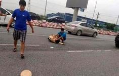 Trung úy CSGT bị nam thanh niên đi xe mô tô phân khối lớn tông gãy chân