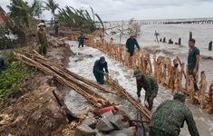 Sạt lở nghiêm trọng, thân đê biển Tây cao hàng mét bị xói tới gốc