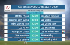 Lịch thi đấu và trực tiếp vòng 13 V.League 2020: Tâm điểm Hoàng Anh Gia Lai - CLB TP Hồ Chí Minh (VTV6, VTV5 Tây Nguyên)