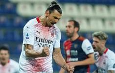 Ibrahimovic lập cú đúp, AC Milan củng cố ngôi đầu Serie A