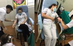 Nhân viên y tế hiến máu cứu sản phụ chửa ngoài tử cung vỡ