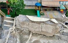 Rào chắn khu vực khối bê tông đổ sập ở trường mầm non, đảm bảo an toàn cho học sinh