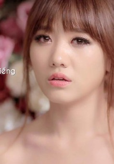 Ngắm bộ ảnh Hari Won mặc váy cưới trong MV Yêu không hối hận