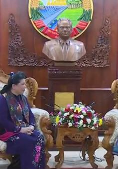 Đồng chí Tòng Thị Phóng hội kiến Tổng Bí thư, Chủ tịch nước, Chủ tịch Quốc hội Lào