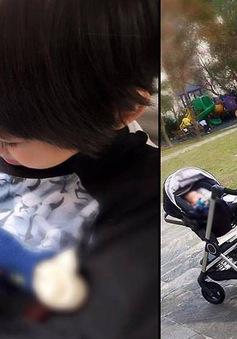 Con trai Lâm Chí Dĩnh thích thú khi được chăm em