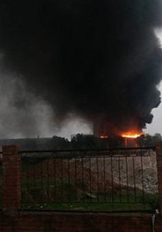 Cháy lớn tại nhà máy gạch Viglacera Phúc Yên - Vĩnh Phúc