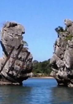 Hòn Thiên Nga - Vịnh Bái Tử Long bị sạt lở mất phần đầu