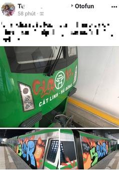 Đoàn tàu đường sắt trên cao Cát Linh - Hà Đông bị vẽ bậy