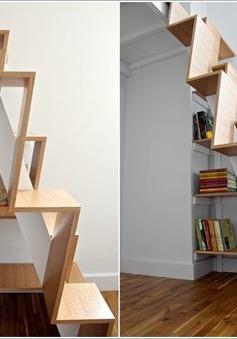 Những cách thêm tủ sách vào cầu thang rất sáng tạo