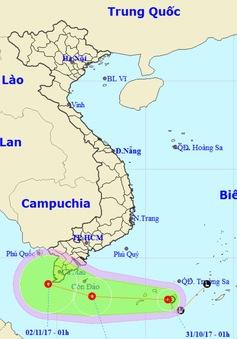 Áp thấp nhiệt đới gây gió giật cấp 9 trên vùng biển Tây Nam, Trung Bộ mưa lớn