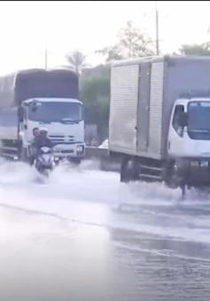 Vĩnh Long: Triều cường gây ngập Quốc lộ 1