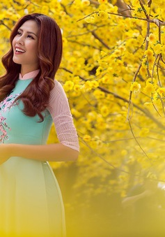 Hoa hậu biển Nguyễn Thị Loan duyên dáng khoe sắc bên mai vàng