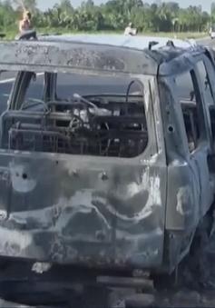 Khởi tố tội giết người, hủy hoại tài sản trong vụ ô tô cháy trên QL61
