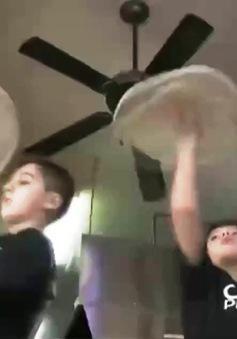 Màn biểu diễn làm pizza cực đỉnh của hai nhóc tì tại Mỹ