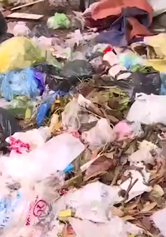 Rác thải tràn ngập đường thị xã Sơn Tây, Hà Nội