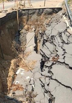 Sụt lún nghiêm trọng tại Quốc lộ 217, Thanh Hóa
