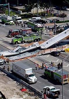 Hiện trường vụ sập cầu vượt vừa xây xong tại Miami (Mỹ)
