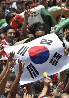 CĐV Mexico sung sướng vây kín ĐSQ Hàn Quốc để cảm ơn kì tích châu Á