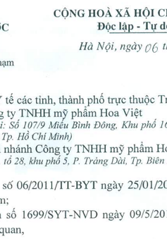 Thu hồi mỹ phẩm vi phạm của Công ty TNHH mỹ phẩm Hoa Việt