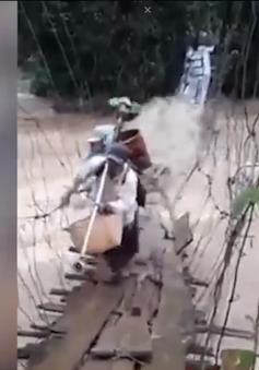 Lâm Đồng: Người dân mạo hiểm vượt nước lũ bằng cầu treo