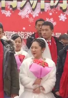Đám cưới tập thể của 34 cặp đôi giữa băng tuyết giá lạnh