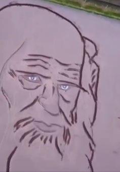 Khắc chân dung Leonardo Da Vinci trên cánh đồng