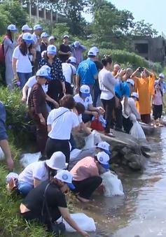 Thả hàng nghìn con cá giống tái tạo nguồn lợi thủy sản tại Hà Nội