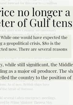 Giá dầu ít biến động bất chấp căng thẳng Vùng Vịnh