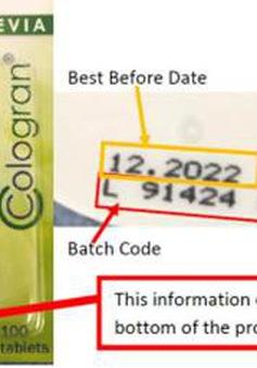 Thu hồi chất tạo ngọt Cologran Stevia vì có chứa phụ gia thực phẩm không được công bố trên nhãn