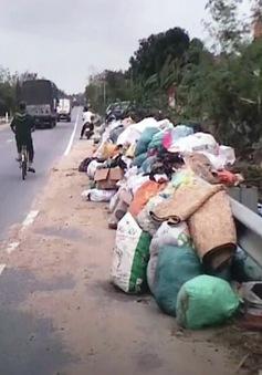 Rác chất đống dọc Quốc lộ 1A sau lũ