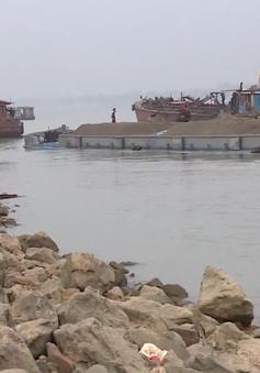 Sạt lở hàng trăm mét đê kè ven sông Hồng do khai thác cát trái phép