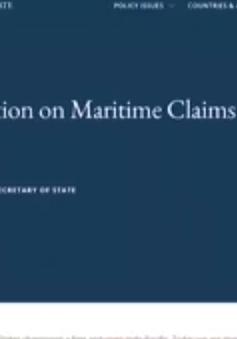 Bộ ngoại giao Mỹ ra thông cáo bác hầu hết yêu sách của Trung Quốc về Biển Đông