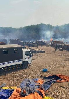 Cháy khu vực chứa gỗ trong khuôn viên Chi cục Hải Quan
