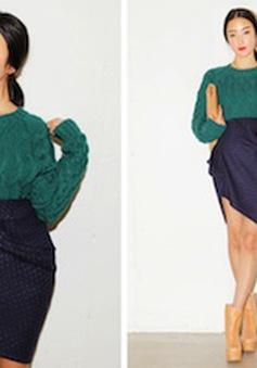 Mix áo len với các kiểu chân váy