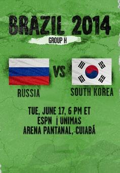 World Cup 2014, bảng H, Nga - Hàn Quốc: Khi chiến thắng là mệnh lệnh (5h00, 18/6, VTV6)