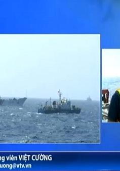 PV VTV đưa tin từ Hoàng Sa: Sáng 15/5, tàu Trung Quốc vẫn duy trì lực lượng lớn bảo vệ giàn khoan