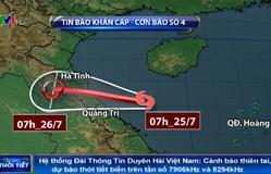 Dự báo 24h tới, bão số 4 di chuyển theo hướng Tây Tây Bắc